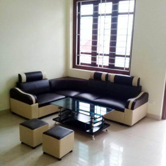 Ghế sofa góc kẻ đen tay gỗ – SFHP16
